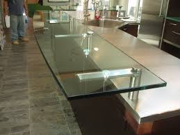 Kitchen Island Brackets Clear Glass Countertop With Custom Stainless Steel Supports