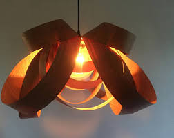 Wood Veneer Pendant Light Wood Veneer L Etsy