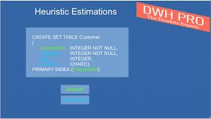 Teradata Create Table Teradata Sql Teradata Statistics Heuristic Estimations
