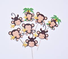 baby shower monkey monkey tags and cake toppers monkey baby shower decoration