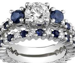 wedding set rings white gold synthetic diamond sapphire engagement set rings