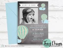 air balloon invitation chalkboard balloon boy invitation