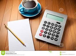 M El Schreibtisch Taschenrechner Schreibtisch Bleistift Papier Stockfoto Bild