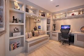 Home Office With Sofa Home Office With Recessed Shelving Traditional Storage Ideas Photo