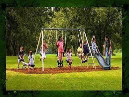 Flexible Flyer Backyard Swingin Fun Metal Swing Set Playground Metal Swing Set Swingset Outdoor Play Slide Kids