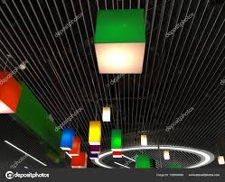 ladari in plastica ladari multicolori plastica su un moderno soffitto a strisce di