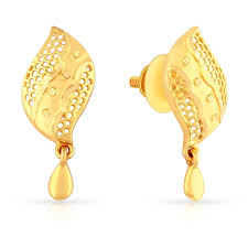 malabar earrings buy malabar gold diamonds 22k 916 yellow gold drop earrings