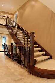 Handrail Rosette Traditional Staircase With Wooden And Metal Wrought Stair Railings