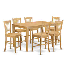 oak finish rubberwood 7 piece dining room pub set with counter