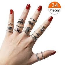 knuckle rings set images 34 pcs knuckle ring set vintage hamsa hand bohemian jpg