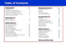 table of contents shipments tab 3 page introduction page ppt