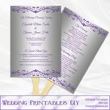 purple and silver wedding fan program by weddingprintablesdiy