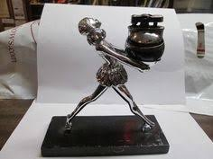 impressive figural deco ronson touch ronson black bartender touch tip cigarette lighter with humidor
