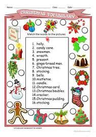 42 free esl christmas vocabulary worksheets