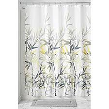 Grey Shower Curtains Fabric Amazon Com Interdesign Daizy Shower Curtain Gray And Yellow 72