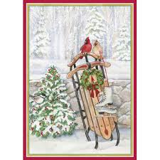 caspari cards scandinavianshoppe caspari boxed christmas cards sled in