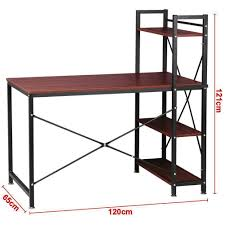 dripex steel frame wooden home office table with 4 tier diy