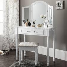 Sienna White Dressing Table Mirror Stool Set Dresser