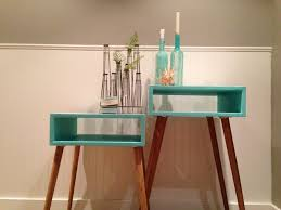 wonderful retro turquoise skinny side table design with adorable
