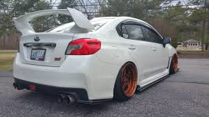 sti subaru white bagged subaru 2015 sti cwp stanced up