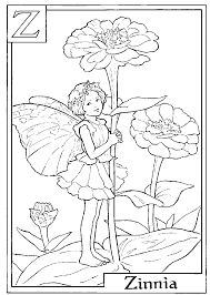 download and print letter z for zinnia flower fairy coloring page