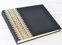 custom photo albums royal gold lace custom book blue sky papers