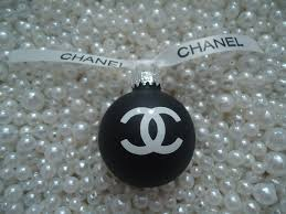 chanel inspired matte black glass tree ornament with