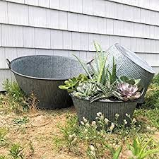 amazon com galvanized wash tub or planter cart with metal wheels