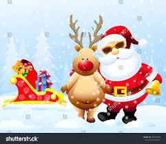 santa claus reindeer christmas sleigh stock illustration 297450269