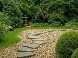 zen path in a japanese botanical garden in prague stock photo