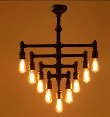 9 Bulb Chandelier Industrial Steunk Chandelier Lighting Iron Pipe Edison Bulb For