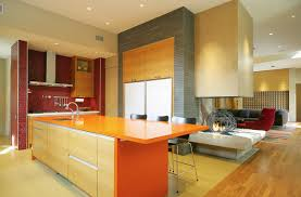 pine and bright orange for cabinet kitchen paint color in a