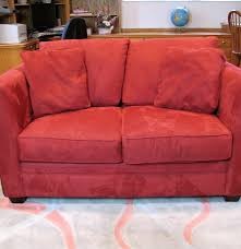 Red Loveseat Bauhaus Micro Suede Love Seat Couch Ebth