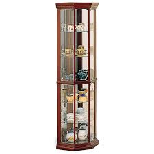 tall corner bookcase curio cabinet corner curio cabinet cherry wood glass display