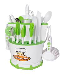 Kids Kitchen Knives 30 Piece Caddy Collection Kids Cooking Tools Storage