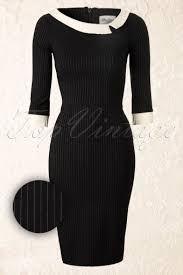 black dress company black mad men vintage pencil dress with pinstripe