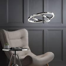 spark led dual hoop ceiling pendant light chrome from litecraft
