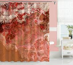 Pink And Orange Shower Curtain Abstract Art Shower Curtain Peach Coral Dark Red Brown Beige