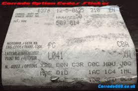 option codes decoder volkswagen corrado g60