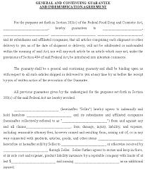 indemnification agreement sample template for continuing guaranty