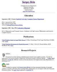 Cs Resume Sergey Brin U0027s Resume From 1996 2 Years Before He Cofounded Google