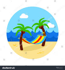 hammock palm trees on beach vector stock vector 606401573