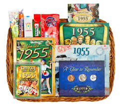 60 year birthday gift 60th anniversary or 60th birthday gift basket for 1955 hmmmmmm