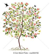 apple blossom tree vector illustration search clipart drawings