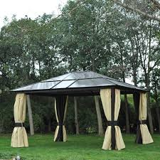 gazebo mosquito netting outsunny 14x12ft hardtop outdoor patio gazebo aluminum pole w