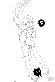 gaia anime devil character coloring page free printable