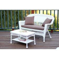 jeco white wicker patio love seat and coffee table set u2013 yard outlet