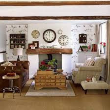 country style living rooms with round clocks and leather couch and