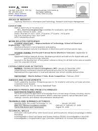 Resume Samples Electrical Engineering by Ee Resume
