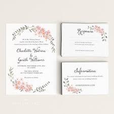printable wedding invitation set watercolor floral garden